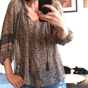 JOIE FLORAL SILK BLOUSE WITH MATCHING CAMISOLE